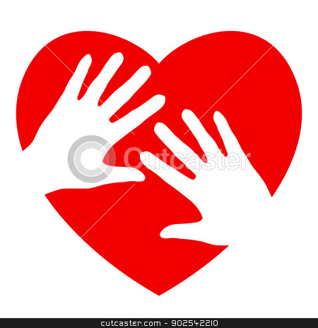 Hands and heart stock photo, Two hands and heart. Illustration on white background  by dvarg