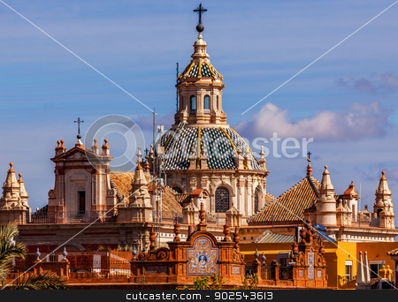 Church of El Salvador Seville Spain stock photo, Church of El Salvador, Iglesia de El Salvador, Dome with Cross, Seville Andalusia Spain.  Built in the 1700s.  Second largest church in Seville. by William Perry