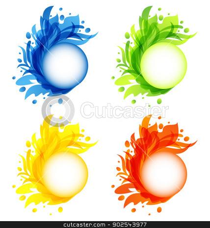 Four seasonal flourish colorful frames isolated stock vector clipart, Illustration four seasonal flourish colorful frames isolated - vector by -=Mad Dog=-