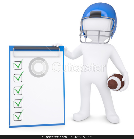 3d man in helmet holding ball and checklist stock photo, 3d white man in helmet holding football ball and checklist. Isolated render on a white background by cherezoff