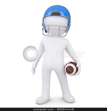 3d white man in helmet holding football ball stock photo, 3d white man in helmet holding football ball. Isolated render on a white background by cherezoff