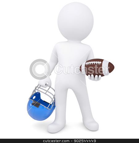 3d white man holding football ball and helmet stock photo, 3d white man holding football ball and helmet. Isolated render on a white background by cherezoff