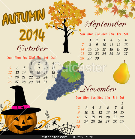 Autumn calendar 2014 stock vector clipart, Autumn calendar for 2014, vector illustration by radubalint