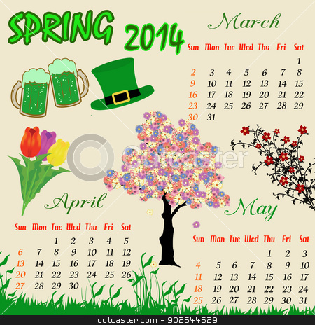 Spring calendar for 2014 stock vector clipart, Spring calendar for 2014, vector illustration by radubalint