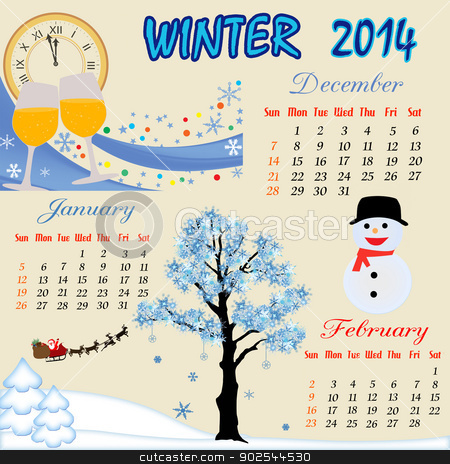 Winter calendar 2014 stock vector clipart, Winter calendar for 2014, vector illustration by radubalint