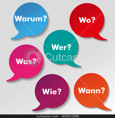 Colorful Questions Speech Paper Labels stock photo, Colorful questions speech paper bubbles with numbers. German text warum, was, wo, wie, wann, wer translate why, what, where, how, when, who. Eps 10 vector file. by Alexander Limbach