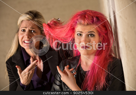 Arguing About Hairdos stock photo, Parent and teen daughter arguing about hairdo by Scott Griessel