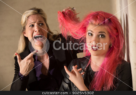 Lady Shocked About Hairdo stock photo, Shocked blond woman holding pink hairdo of teenager by Scott Griessel