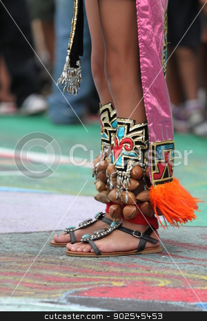 Indian Feet stock photo, Decorated feet of an American Indian native. by Henrik Lehnerer