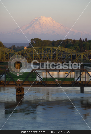 Railroad and Road Bridges over Puyallup River Mt. Rainier Washin stock photo, The Puyallup River meanders down from the glaciers on Mount Rainier under bridges through cities on it's way to Puget Sound by Christopher Boswell