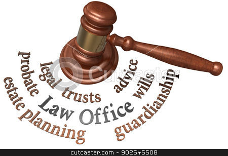 Gavel estate probate wills attorney words stock photo, Gavel with legal concepts of estate planning probate wills attorney by Michael Brown