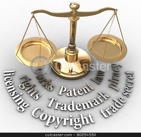 Scale IP rights legal justice words stock photo, Scale with intellectual property concepts of patent copyright trademarks by Michael Brown