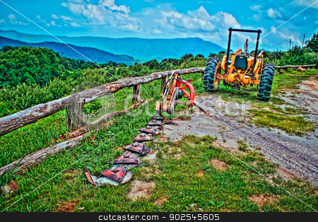 old tractor in the mountains stock photo, old tractor in the mountains ready for harvest by digidreamgrafix.com