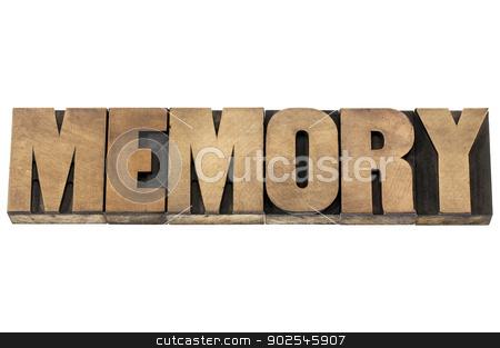 memory in wood type stock photo, memory word - isolated text in letterpress wood type printing blocks by Marek Uliasz