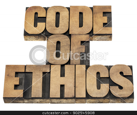 code of ethics in wood type stock photo, code of ethics  - isolated text in letterpress wood type printing blocks by Marek Uliasz