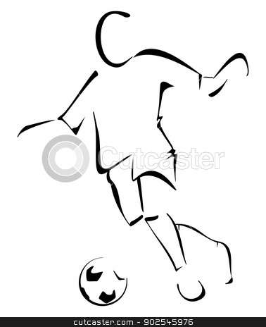 Soccer player stock vector clipart, Man with the ball playing soccer by Oxygen64