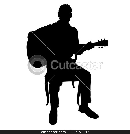Guitar Man stock vector clipart, Silhouette of a man playing an acoustic guitar by Maria Bell
