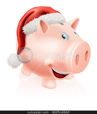 Christmas savings piggy bank stock vector clipart, Illustration of a happy Christmas savings piggy bank with Santa hat on. Concept for saving money for Christmas or Christmas savings club. by Christos Georghiou