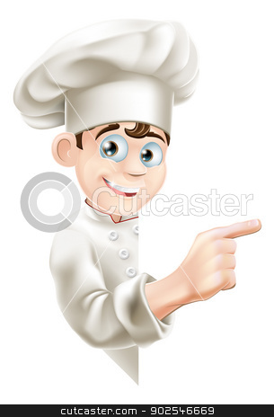 Cartoon Chef Pointing at Sign stock vector clipart, Illustration of a cartoon chef mascot pointing at your message or banner by Christos Georghiou