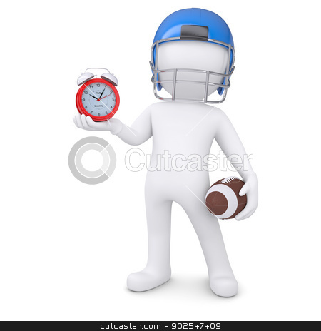 3d man in football helmet holds red alarm clock stock photo, 3d man in a football helmet holds red alarm clock. Isolated render on a white background by cherezoff