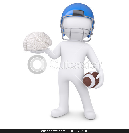 3d man in a football helmet keeps the brain stock photo, 3d man in a football helmet keeps the brain. Isolated render on a white background by cherezoff