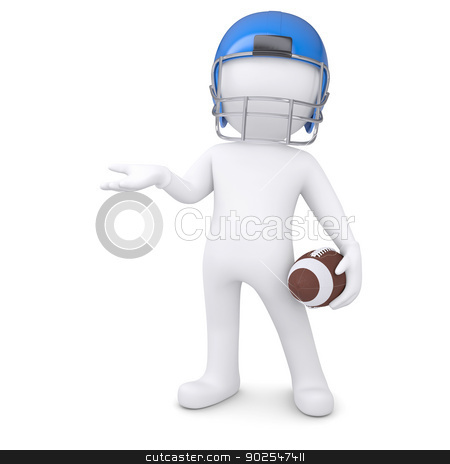 3d man in a football helmet holds an empty hand stock photo, 3d man in a football helmet holds an empty hand. Isolated render on a white background by cherezoff
