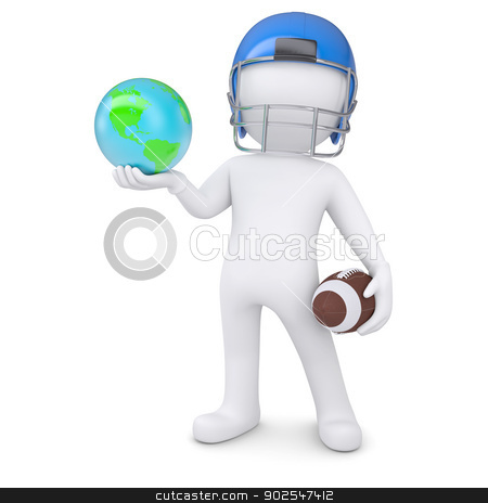 3d man in a football helmet holds the earth stock photo, 3d man in a football helmet holds the earth. Isolated render on a white background by cherezoff