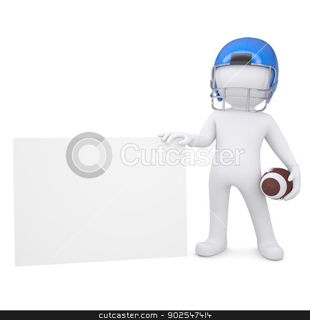 3d man in a football helmet holds blank card stock photo, 3d man in a football helmet holds a blank card. Isolated render on a white background by cherezoff