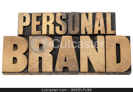 personal brand in wood type stock photo, personal brand - isolated text in mixed letterpress wood type printing blocks by Marek Uliasz