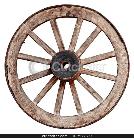 Old wooden wagon wheel on white background stock photo, Old wooden wagon wheel isolated on white background by Alexey Romanov