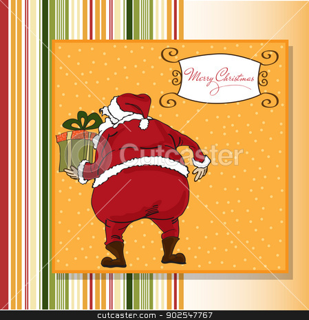 Christmas greeting card with Santa stock vector clipart, Christmas greeting card with Santa by balasoiu