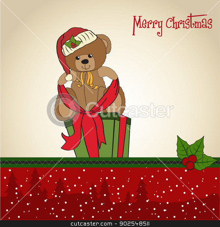 cute teddy bear with a big Christmas gift box stock vector clipart, cute teddy bear with a big Christmas gift box, vector format by balasoiu