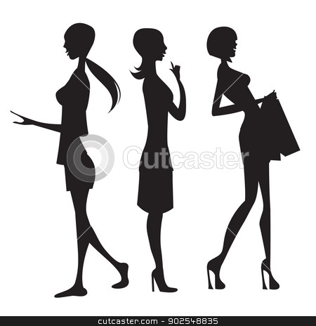 silhouette of three cute fashion girls isolated on white backgro stock vector clipart, silhouette of three cute fashion girls isolated on white background by balasoiu