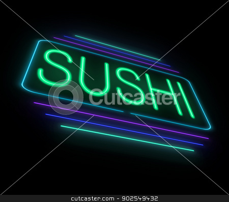 Neon sushi sign. stock photo, Illustration depicting an illuminated neon sushi sign. by Samantha Craddock