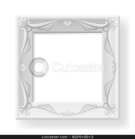 Frame stock photo, Silver picture frame. Illustration on white for design. by dvarg