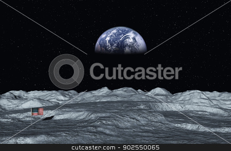 View On Earth stock photo, This image shows a view from moon to earth with american flag by kirschner