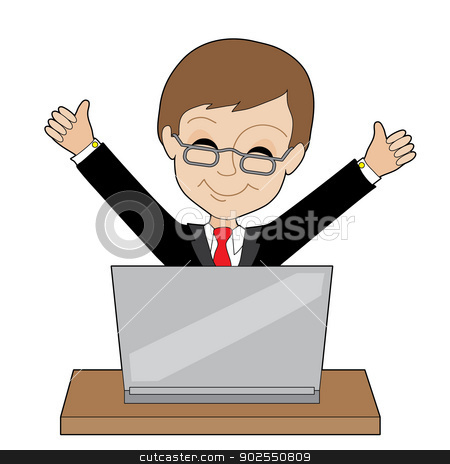 Man Laptop stock vector clipart, A young business man is happy about something on his laptop - by Maria Bell
