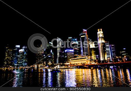 Marina bay in the night2 stock photo, Marina bay in the night2 by Gjee