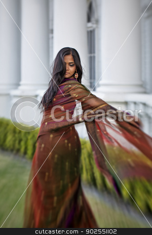 Indian Woman Twirls Sari stock photo, A young, modern, 20 something, Indian woman with long black hair, dressed in traditional Indian attire (sari), spins and twirls here dress. The flow of the dress creates an artistic, creative blur by Kim Wilson