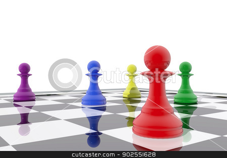 Chess pawns in different colors stock photo, Chess pawns in different colors by genialbaron
