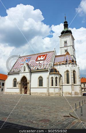 St. Mark's church stock photo, Church of St. Mark, Zagreb, Croatia by Borislav Marinic