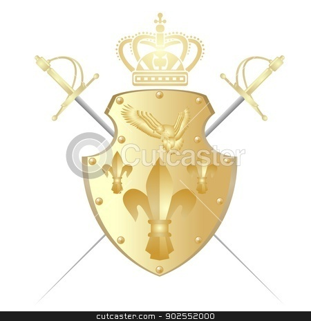 Shield, crown and two swords stock photo, Shield against the cold steel and the crown. The illustration on a white background. by Sergey Skryl