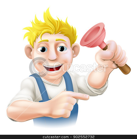 Cartoon Plumber stock vector clipart, Illustration of a cartoon plumber or janitor holding a sink or toilet plunger and pointing by Christos Georghiou