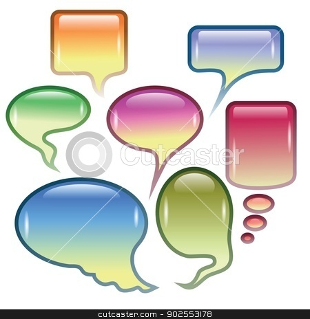 set of speech bubbles stock vector clipart, colorful background  with  speech bubbles  for your design by valeo5