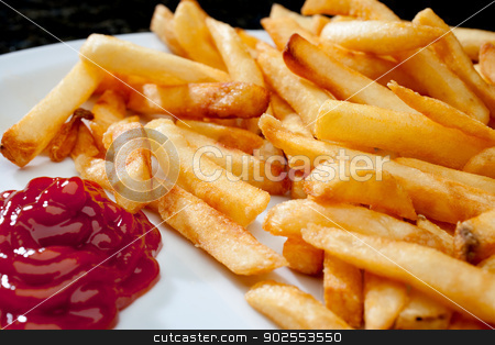 Horizontal image of french fries with ketchup stock photo, Horizontal image of french fries with ketchup by Vince Clements