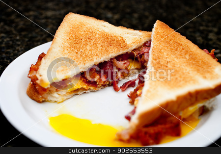 Horizontal image of a toasted egg and bacon sandwhich stock photo, Horizontal image of a toasted egg and bacon sandwhich by Vince Clements