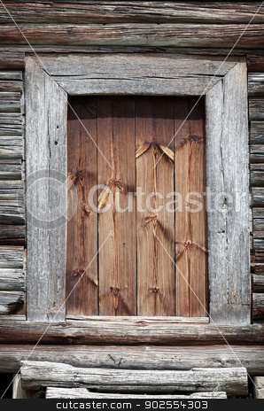 Old wooden rural door close-up stock photo, Old grunge wooden rural door close up by Alexey Romanov