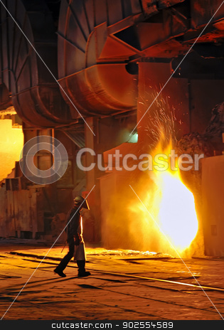 A steel worker in factory stock photo, A steel worker takes a sample from oven by Iordache Magdalena