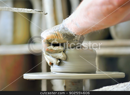 making of a ceramic vase stock photo, the creation of pottery on wheel by Iordache Magdalena