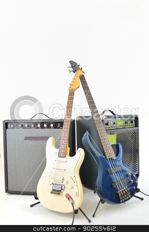 guitars and amplifiers stock photo, guitars and amplifiers on white background by Iordache Magdalena